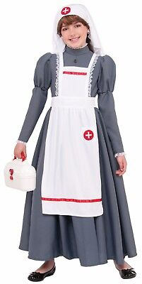 Cival War Nurse Costume Child 3Pc Gray & Wht Historical Book Report Costume - Costume Book