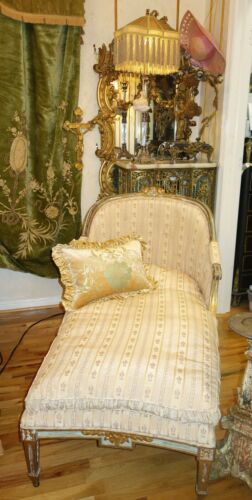 STUNNING FRENCH ANTIQUE FAINTING CHAISE SOFA  UPHOLSTERED ANTIQUE FABRIC c1800