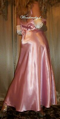 Vtg Style Fair Pink Satin Long Nightgown Negligee Lingerie Slip 48 50 -