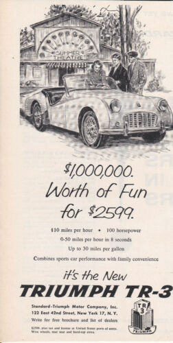 "VINTAGE 1956 PRINT AD FOR TRIUMPH TR-3-""1,OOO,OOO WORTH OF FUN-$2599"""