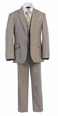 Magen Kids Boys Formal Bridal 5 Pcs Set Suit Size 2-18 Light KHAKI 2 Buttons #57