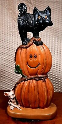 Vintage Hand Painted Ceramic Halloween Pumpkin JOL with Black Cat and Mouse