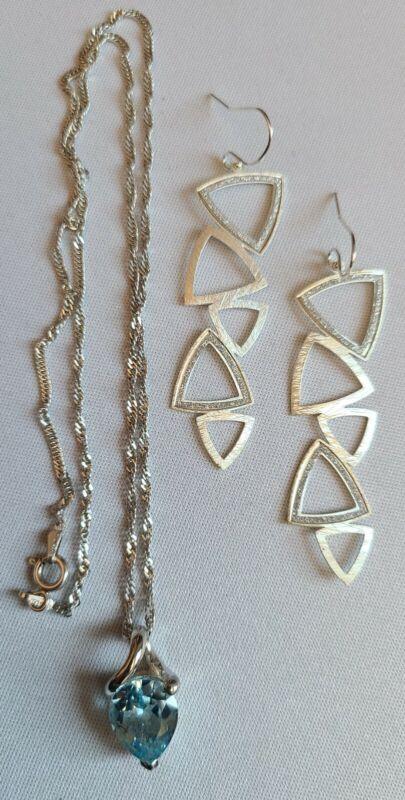 vtg 925 STERLING BLUE Topaz Necklace Chain + GLITTER Earrings / free ship US