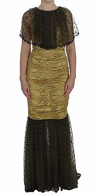 NWT $12600 DOLCE & GABBANA Dress Yellow Black Floral Lace Ricamo Gown IT40/US6/S