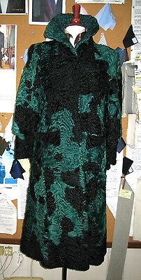 Rare Vintage Georges Kaplan Museum Quality Broadtail Fur Coat Green/Black