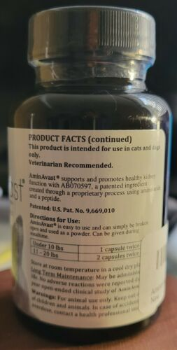 NEW, SEALED AminAvast Kidney Support Supplement For Cats 300mg 60 Caps Exp 01/23 - $27.95