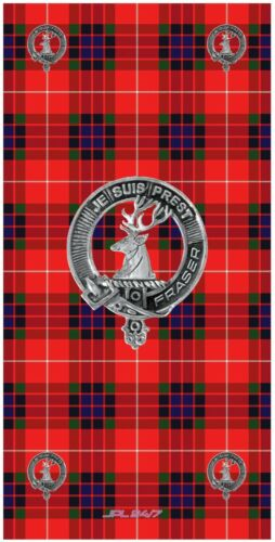 BUFF-Fraser of Lovat Tartan with CLAN LOGO