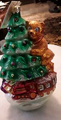 Radko RIGHT ON TRACK Christmas Ornament 98-302-0 BEAR, TREE, TRAIN retired w/tag ()