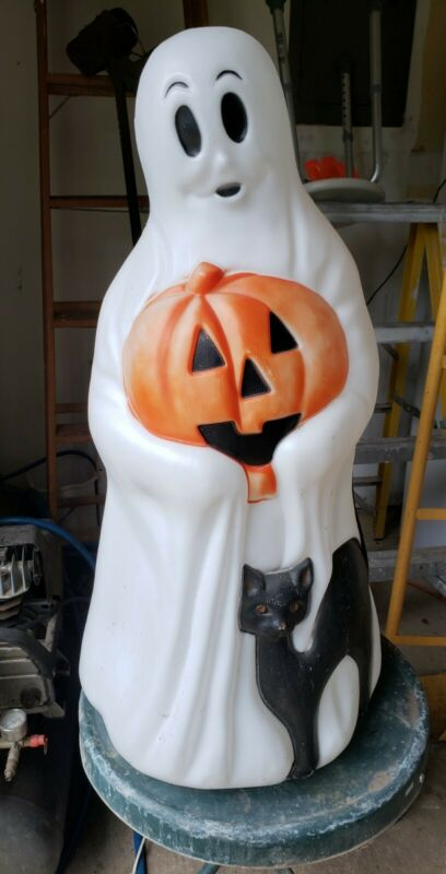 "VINTAGE EMPIRE PLASTIC BLOW MOLD 35"" HALLOWEEN GHOST W/ PUMPKIN & CAT LIGHTED"