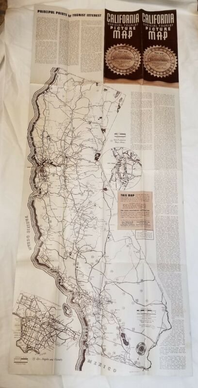 LARGE Vintage Antique 1936 California Official Tourist Picture Map Charles Owens