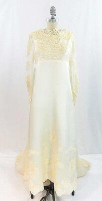 Vtg 60s Cream Satin Lace Wedding Gown Watteau Back Train Medieval Juliette sz 4