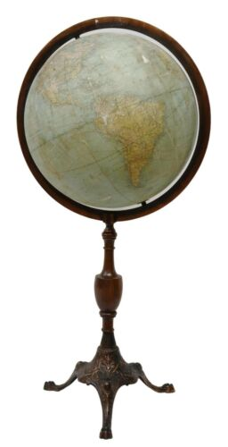 Antique Globe, 18-INCH TERRESTRIAL GLOBE ON CAST IRON STAND, early 1900s