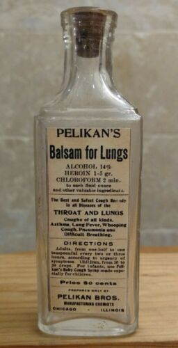 Vintage Medicine Hand Crafted Bottle,  Pelikan