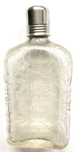 ANTIQUE SILVER DOLLAR BRAND PURE RYE WHISKEY GLASS FLASK WITH EMBOSSED DOLLARS