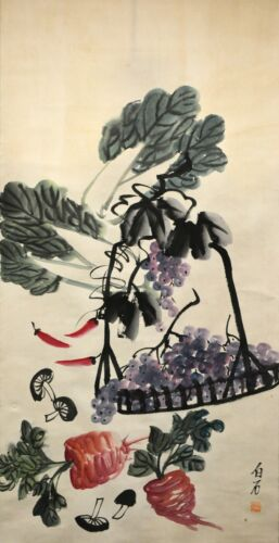 Vintage Chinese Watercolor Vegetables Wall Hanging Scroll Painting - Qi Baishi