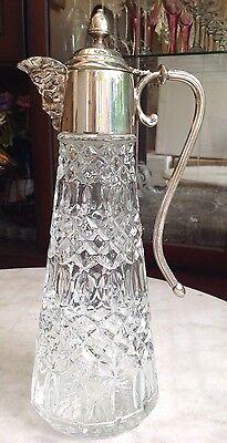 CLARET JUG DECANTER GLASS WITH SILVER PLATE MOUNT INC BACCHUS FACE MASK SPOUT