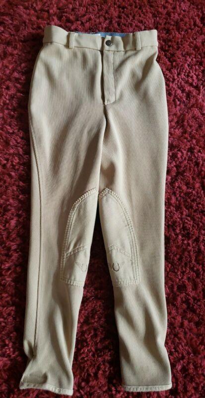 TuffRider Kids Ribb Knee Patch Breeches Jodphurs Riding pants Tan Size 14