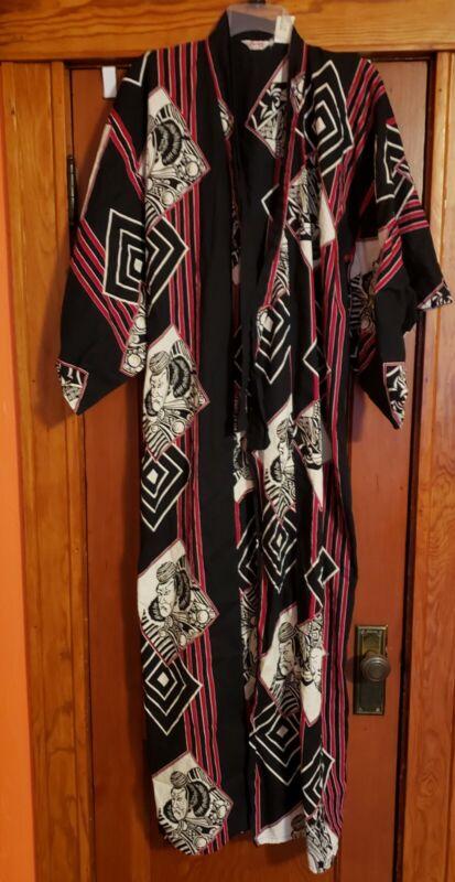 """Vintage Marukyo Japanese Cotton Blue White Red Kimono Robe 59""""Long Large Warrior"""