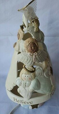 "13"" Vintage Light Up Ceramic Angel Christmas Tree With Base"