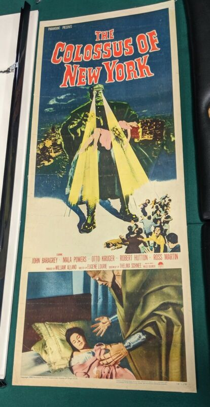 The Colossus of New York original Insert Movie Poster 1958 linen backed