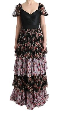 NEW $6600 DOLCE & GABBANA Dress Silk Stretch Floral Shift Long Gown IT36/US2 /XS