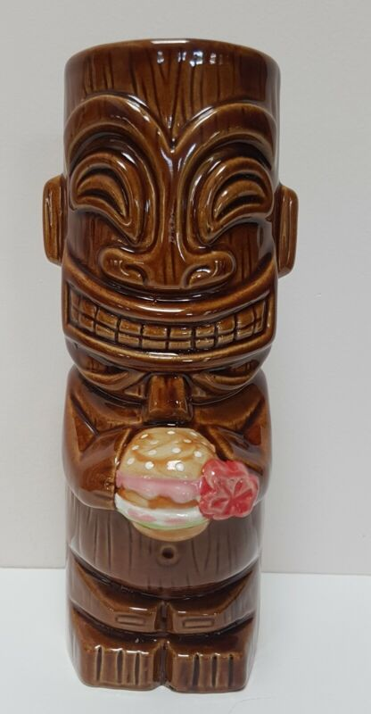 "Tiki Farm Mug Cheeseburger In Paradise Maui Hawaii Brown Ceramic Pink Flower 7"""