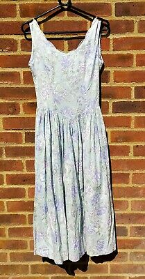 Vintage Original Laura Ashley 1980's 100% Cotton Floral Sundress S 10 Prairie