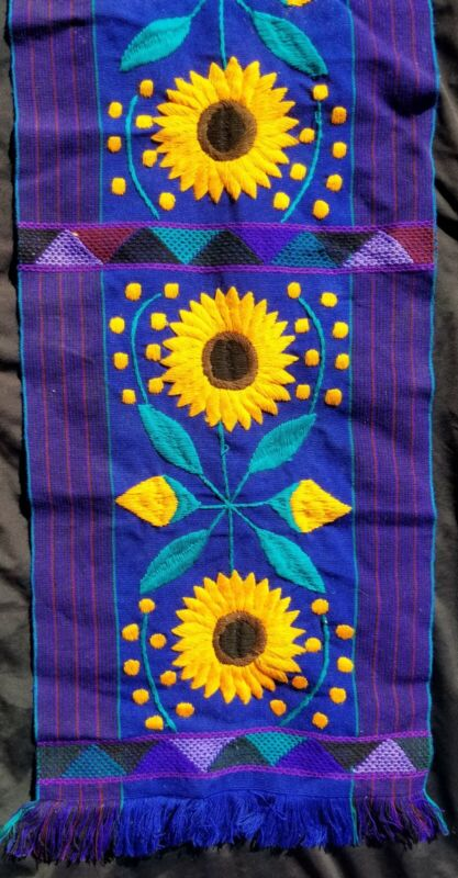 Chiapas Mexico Hand Woven & Embroidered Textile Table Runner Sunflowers