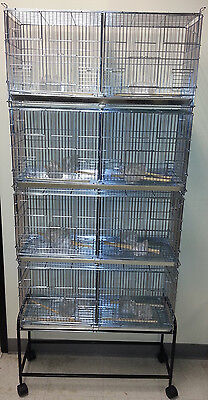NEW Lot of 4 Bird Finch Canary Breeder Cages With Dividers With Black Stand 169
