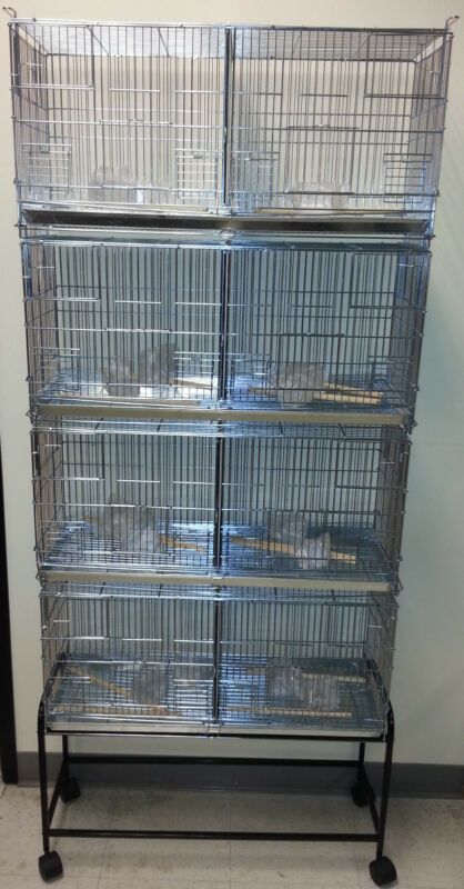 Lot of 4 Bird Finches Canary Aviary Breeding Cages Dividers With Rolling Stand