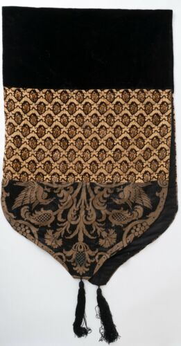 19thc Antique Victorian Velvet Table Runner Damask Cut Velvet W/ Tassel