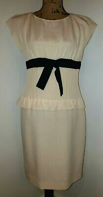 👗 Valentino Ivory Black Bow Empire Waist Peplum Sheath Midi Silk Dress Size 10 Empire Waist Bow
