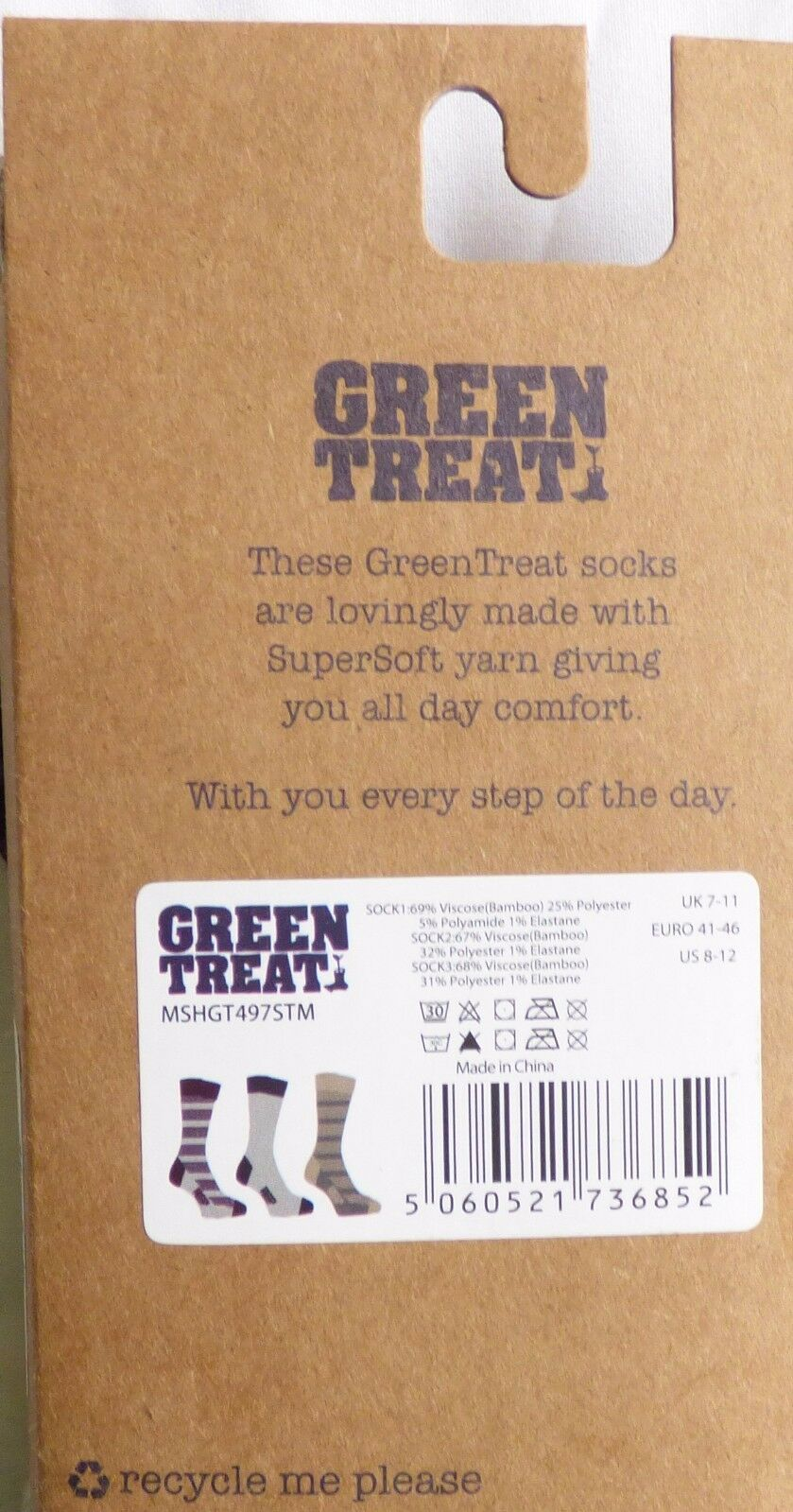 Green Treat Men's 3 PACK Super Soft Bamboo Crew Socks Choose Colors