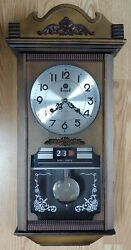 Vintage ESGRAD 31 Day Strike Wall Clock with DAY-DATE made in Korea pendulum Key