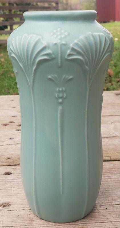 """Vtg Art Nouveau Art Deco Style Ceramic Vase 9"""" Green Matte Glaze Crowning Touch"""