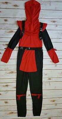 Kids Red Viper Ninja Boys Halloween Costume Jumpsuit Black/Red Size L 12-14 - Red Viper Ninja Costume