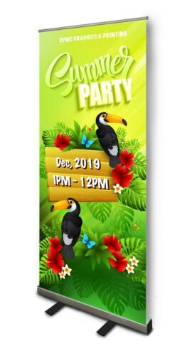 """NEW Retractable Pull Up Banner Stand 33""""  WITH PRINTING- PRICE REDUCED!!!"""