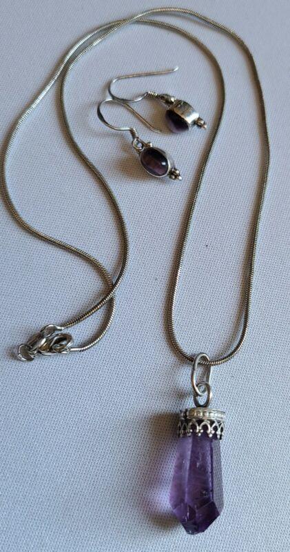 vtg 925 STERLING AMETHYST crystal pendant Amy Cats Eye EARRINGS / Free Ship US