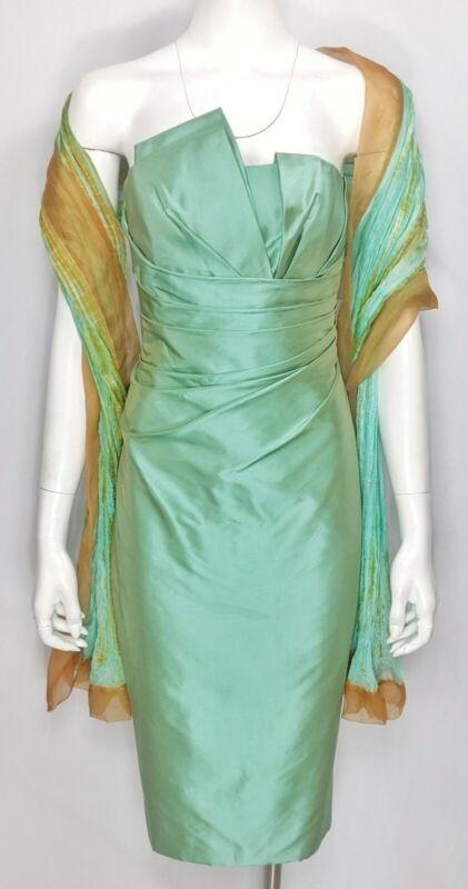 CATHERINE REGEHR Sz 8 Silk Taffeta Strapless Side Pleated Dress w/ Plisse Wrap