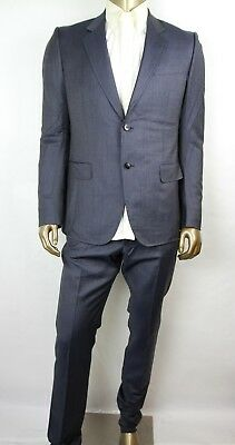 Gucci Men Dark Blue Wool Marseille Stripe Web 2 Button Suit w/1 vent 353238 (Marseille Stripe)