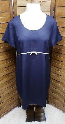 Motherhood Maternity Women's Size XL Short Sleeve Navy Blue Dress Scoop Neck Bow Sleeve Scoop Neck Bow