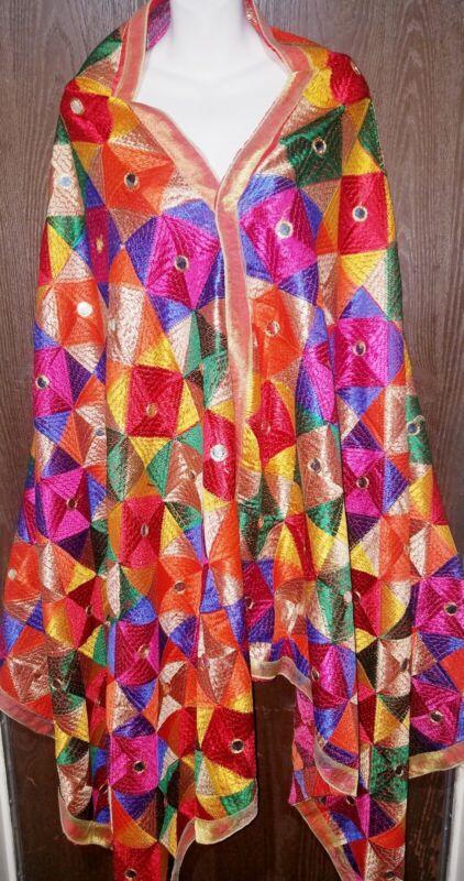 Indian Pakistani punjabi phulkari dupatta chunari stole wrap salwar kameez saree
