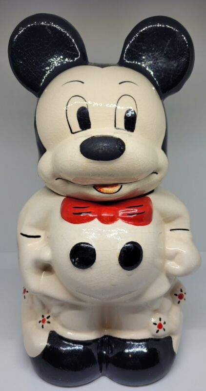 Turnabout Mickey Minnie Mouse Cookie Jar Double Sided Disney Cold Paint