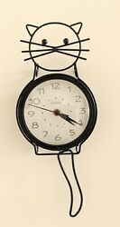 Adorable Black Metal Wire Chaney Cat Wall Clock with Moving Tail