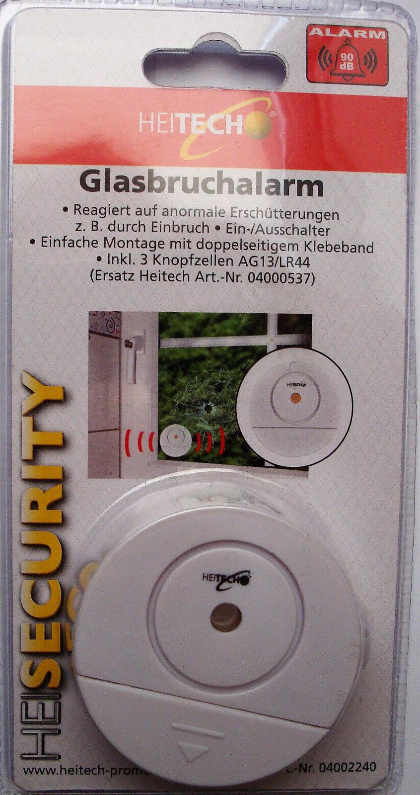 10 x Heitech Glasbruchalarm Fenster Tür Alarm 90dB  Melder Glas Sensor  NEU+OVP