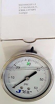 Jhawk Liquid Filled Pressure Gauge Ss2446g1f1-j 2.5 14npt 0-60 Psi