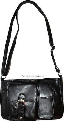 Schwarz Leder Tasche-tag (Neu Damen Leder Klein Schwarz Handtasche Schultertasche Tag Tasche Pocketbook)