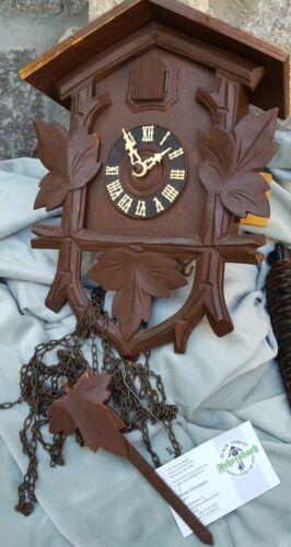 German Black Forest Fehrenbach Cuckoo Clock Bird 2 500 ET Pine Weights Germany