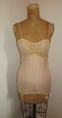 Vintage Gossard Miss Simplicity Full Corset Girdle w/ Lace Bra & Garters