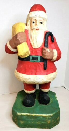 """Antique Pulp Paper Mache Santa 14"""" Signed Willy Bee"""